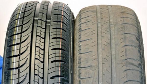 pneu velho e pneu novo - troca de pneus